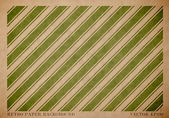 Vector vintage worn out paper card with worn out green striped geometric print — Vettoriale Stock