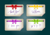 Vector note papers with silky ribbon bow knots — Stock vektor