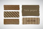 Vector gescheurd papier stukken banners collectie - bruin — Stockvector