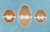 Due vector il banner cartone stile vintage con nodi festivo fiocco setoso — Vettoriale Stock