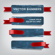 Vector vintage blue distressed crumpled cardboard banners — Stock Vector #36625707