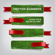 Vector vintage green distressed crumpled cardboard banners — Stock Vector