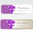 Vintage vector banners collection decorated with tartan and silky ribbon bows — 图库矢量图片