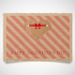 Vector vintage striped paper valentine's day greeting card template — Stock Vector