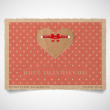 Vector vintage dotted paper valentine's day greeting card template — Stock Vector