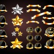 Stock Vector: Vector collection of golden and silver decorative elements: badges, banners, stars and ribbons