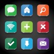 Vector square colorful glossy app icons collection — Imagen vectorial