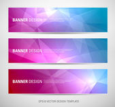 A set of modern vector banners with polygonal background — Stock Vector