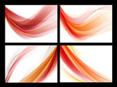 Bright red vector abstract smooth backgrounds set — Vettoriale Stock