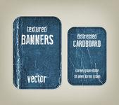 Vector vintage blauwe verdrietig verfrommeld kartonnen banners — Stockvector