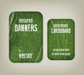 Vector vintage groene verdrietig verfrommeld kartonnen banners — Stockvector