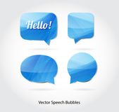 Vector 3d abstract blue glossy speech bubbles collection — Stock Vector