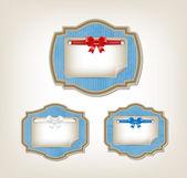 Blue vector vintage style cardboard labels — Stock Vector