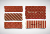 Vector torn paper pieces banners collection - reddish brown — Stock Vector