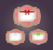 粉红色的矢量的复古风格纸板标签集 — 图库矢量图片