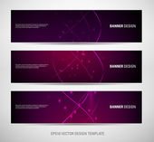 A set of vector abstract banners with purple sparkling light background — Vecteur
