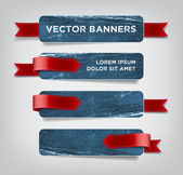 Vector vintage blue distressed crumpled cardboard banners — Stock Vector