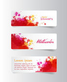 Three colorful red watercolor hand painted vector banners — Stockvektor