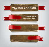 Vector vintage distressed crumpled cardboard banners — Stock Vector