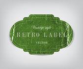 Vector vintage groene verdrietig verfrommeld kartonnen etiket — Stockvector