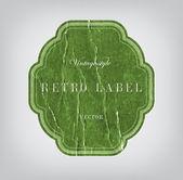 Vector vintage green distressed crumpled cardboard label — Stock Vector