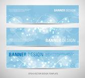 Un set di banner astratti vettoriale con sfondo blu di luce scintillante — Vettoriale Stock