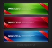 Vector abstract banners with ribbon corner tags — Stock Vector