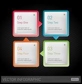 Vector 3d plastic glossy infographic design layout - square progress banners — Stock Vector