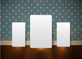 Three white cards standing over an old wall background with vintage wallpaper — Stock Vector