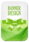 Colorful green vector banner with elegant background decorated with silky ribbon bow — Stock Vector