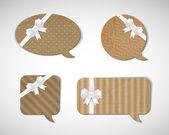 Vector vintage cardboard speech bubbles collection — Stock Vector