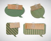Vector vintage cardboard speech bubbles — Vettoriale Stock