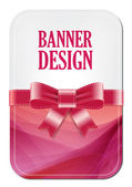 Colorful red vector banner with elegant background decorated with silky ribbon bow — Stock Vector
