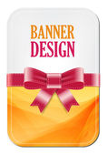 Colorful yellow vector banner with elegant background decorated with silky ribbon bow — Stock Vector