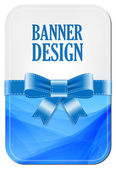Colorful blue vector banner with elegant background decorated with silky ribbon bow — Stock Vector