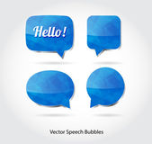 Vector 3d blue glossy speech bubbles collection — Stockvektor