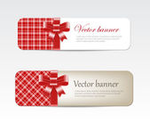 Vintage vector banners collection decorated with tartan and silky ribbon bows - red — Stock Vector