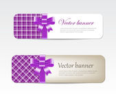 Vintage vector banners collection decorated with tartan and silky ribbon bows — Stock Vector