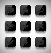 Vector black square glossy app icons collection — Stock Vector