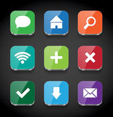 Vector square colorful glossy app icons collection — Stock vektor