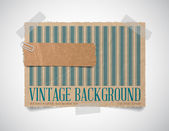 Vector vintage striped paper card template with a torn piece of old paper — Stock Vector