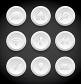 Vector round clean and minimal white plastic icons collection — Stock Vector