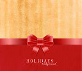 Holiday vector old vintage paper background with red silky ribbon and bow knot — Vector de stock