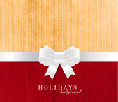 Holiday vector old vintage paper background with white silky ribbon and bow knot — Stock Vector
