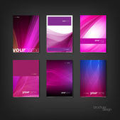 Purple vector brochure - booklet cover design templates collection — Stock Vector