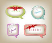 A set of vector retro elegant paper textured speech bubbles — Vettoriale Stock