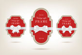 Two vector vintage style cardboard banners with festive silky bow knots — Stockvector