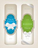 Due vector il banner cartone stile vintage con nodi festivo fiocco setoso - blu e verde — Vettoriale Stock