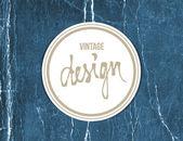 """Vector vintage crumpled paper sticker with handwritten word """"design"""" — Stock Vector"""