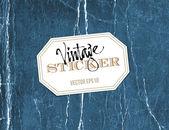Vector vintage crumpled paper sticker over old distressed blue cardboard background — Stock Vector